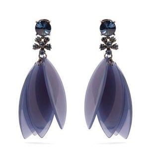 Oscar de la Renta Blue Petal Leaves Earrings